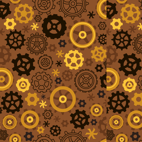 SteampunkGEAR_gold fabric by urban_threads on Spoonflower - custom fabric