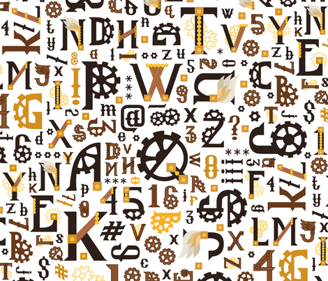 Steampunk_Alphabet_White fabric by urban_threads on Spoonflower - custom fabric