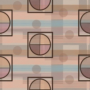 Peach Pink Blue Khaki Squares Lines Circles and Dots