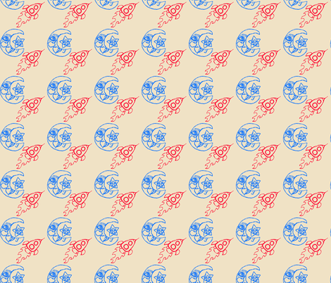 Asteroids with Rockets in Beige fabric by cuddlebat on Spoonflower - custom fabric