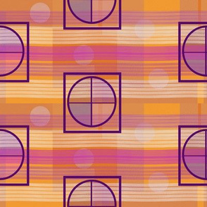 Orange Pink Yellow Stripes Circles and Squares