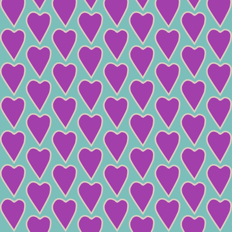 Love explosion sm heart on bluegreen lt-tan lines fabric by mina on Spoonflower - custom fabric