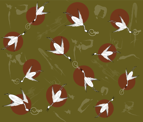 Cranes_in_Ecstasy_ fabric by designergena on Spoonflower - custom fabric