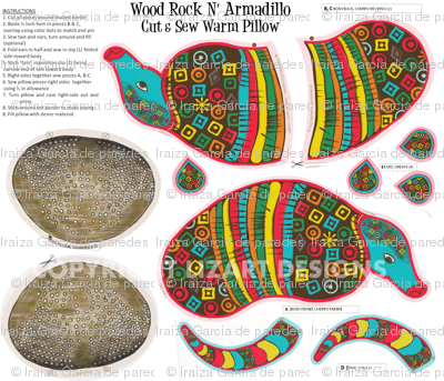 Wood Rock N Armadillo Cut & Sew warm Pillow-ed