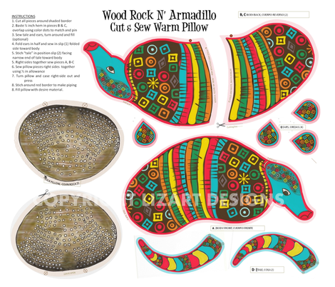 Wood Rock N Armadillo Cut & Sew warm Pillow-ed fabric by lizartelier on Spoonflower - custom fabric