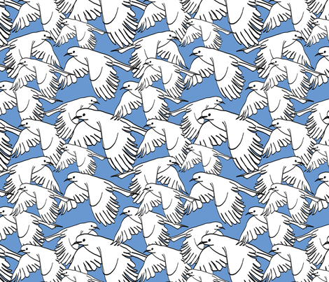 Flock of Birds Cornflower Blue fabric by lucyblaire on Spoonflower - custom fabric