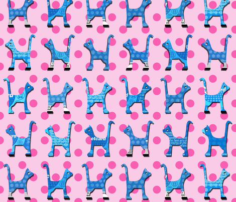 itty_bitty_kitty_pink_large fabric by kirstylovescardboard on Spoonflower - custom fabric