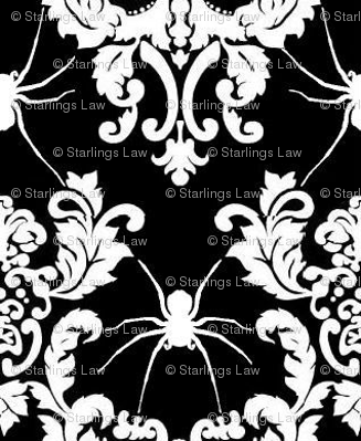 spider damask white on black