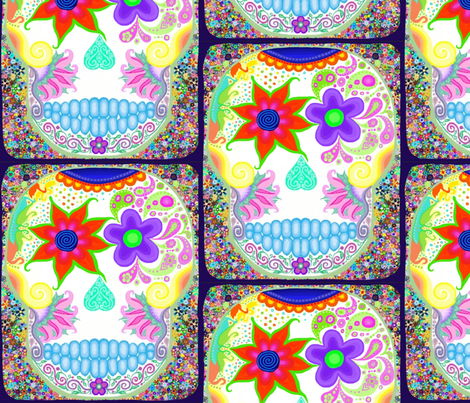 Sugar scull with flowers fabric by princesspineapplehead on Spoonflower - custom fabric