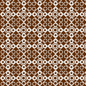 white circles on brown