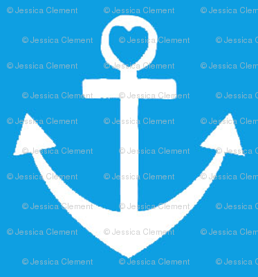 Heart Anchor Blue