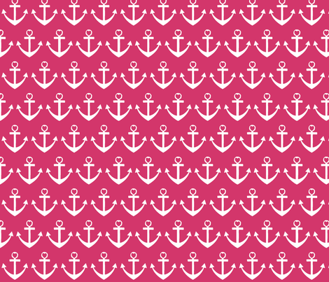 Heart Anchor Pink fabric by poofhawk on Spoonflower - custom fabric