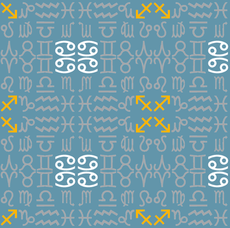 All together zodiac signs - dust blue fabric by domoshar on Spoonflower - custom fabric