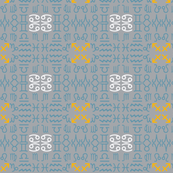 All together zodiac signs coordinating fabric on blue on dust blue corners