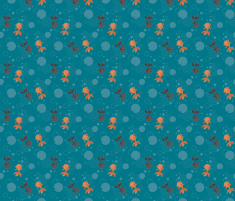 Goldfish in a pond fabric by macywong on Spoonflower - custom fabric