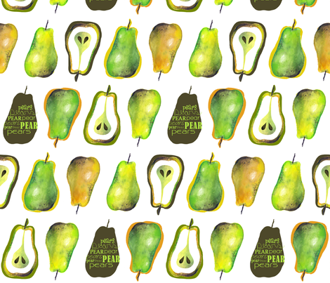 Pears - On White fabric by run_quiltgirl_run on Spoonflower - custom fabric