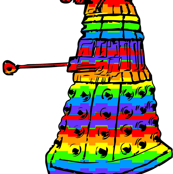 Doctor Who Inspired Rainbow Daleks on White
