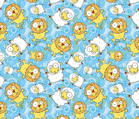 Windy Windmills Lion-Lamb fabric by joojoostrees on Spoonflower - custom fabric