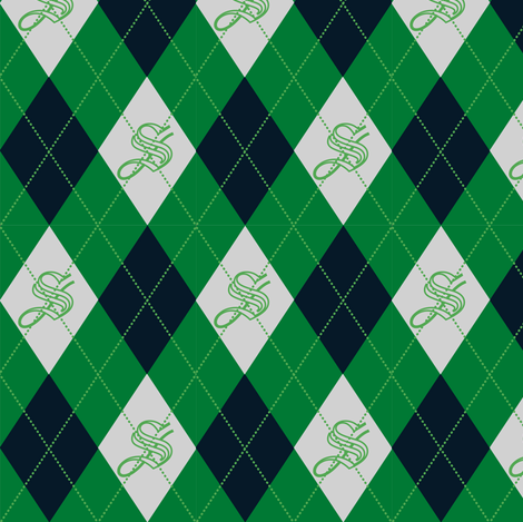Slytherin Argyle Sateen fabric by clonistudios on Spoonflower - custom fabric