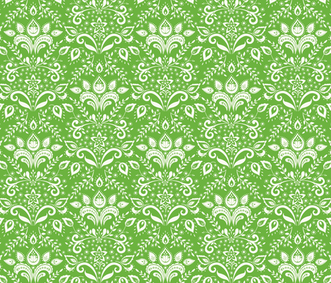 cream___emerald_damask fabric by kayajoy on Spoonflower - custom fabric