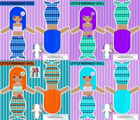 rag dolls: mermaids - cut and sew pattern template fabric by katarina on Spoonflower - custom fabric