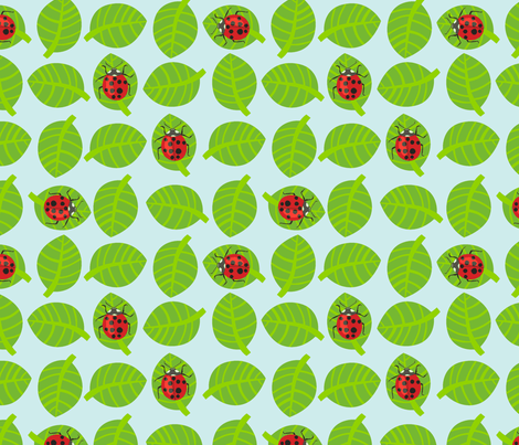 Lady bug  on blue fabric by domoshar on Spoonflower - custom fabric