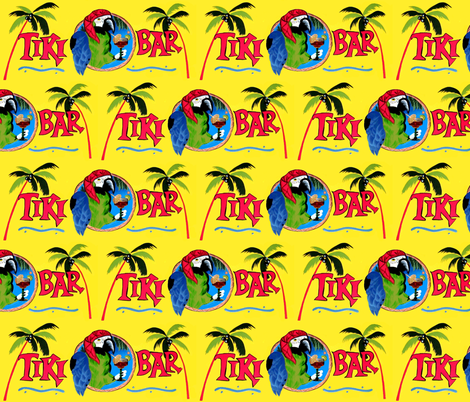 Tiki Bar / Green Bird fabric by paragonstudios on Spoonflower - custom fabric