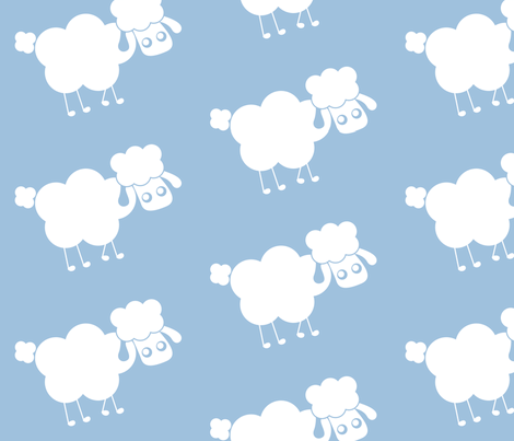 blue sheep fabric by mayenedesign on Spoonflower - custom fabric