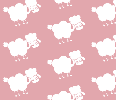 pink sheep fabric by mayenedesign on Spoonflower - custom fabric
