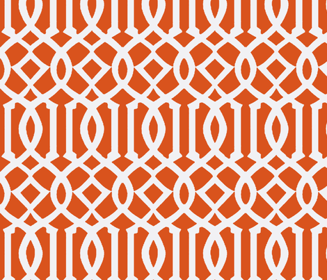 Imperial Trellis Dark Orange/White-Large fabric by melberry on Spoonflower - custom fabric