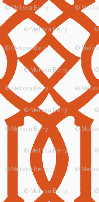 Imperial Trellis-Orange/White-Reverse-Large