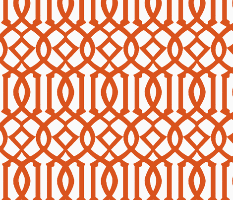 Imperial Trellis-Dark Orange/White-Reverse-Large fabric by melberry on Spoonflower - custom fabric