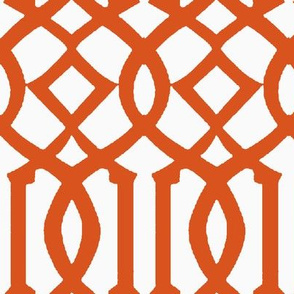 Imperial Trellis-Dark Orange/White-Reverse-Large