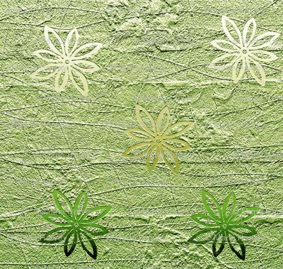 Subtle flowers on textured background - green