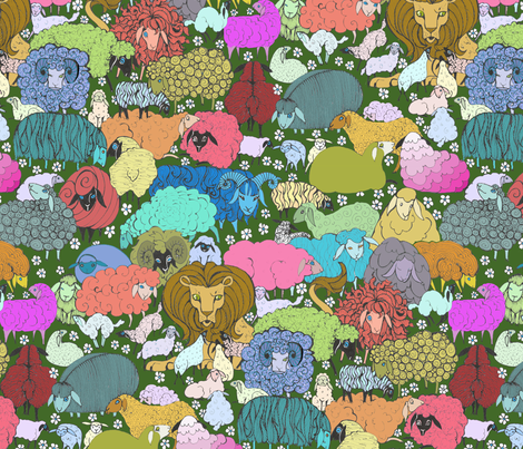 What's that Lying with the Sheep? fabric by ceanirminger on Spoonflower - custom fabric