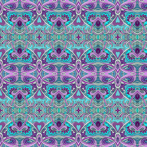 Aqua and Purple Heart, Scallop, and Paisley Waltz  fabric by edsel2084 on Spoonflower - custom fabric