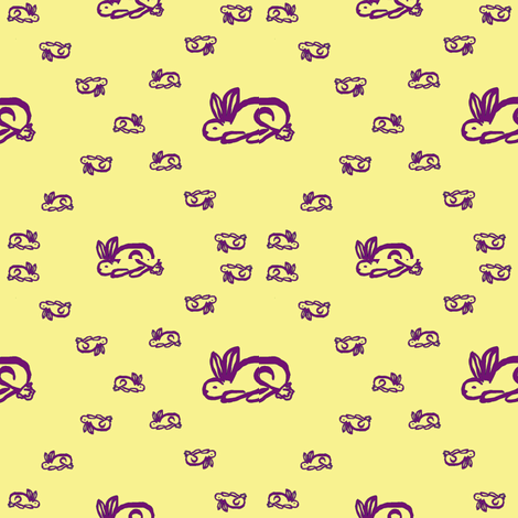 Bunnies (Yellow) fabric by ravynscache on Spoonflower - custom fabric