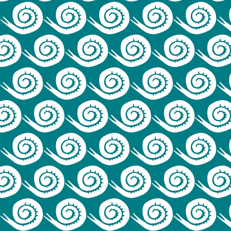 snails in teal fabric by ali*b on Spoonflower - custom fabric