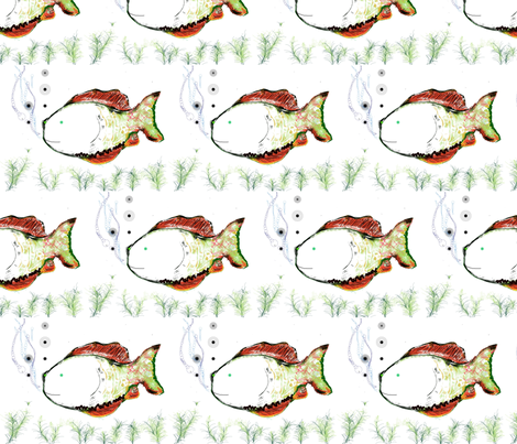 Placid Bubbles  (Orange & Seaweed) fabric by vanillabeandesigns on Spoonflower - custom fabric
