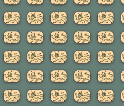 Griffin cartouche fabric by amyvail on Spoonflower - custom fabric