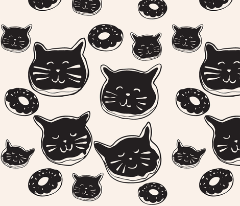 cat doughnuts - dark fabric by hotdogjenny on Spoonflower - custom fabric
