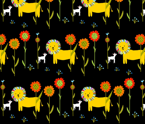 Lion and Lamb fabric by kiwiandsteve on Spoonflower - custom fabric