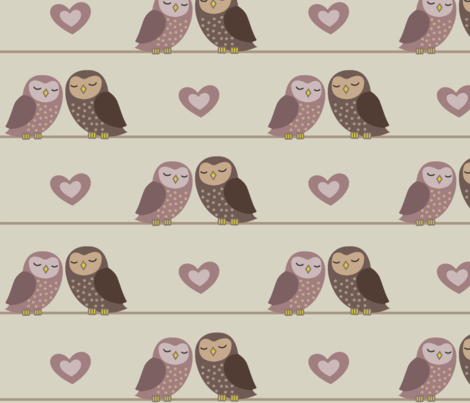 OWLS IN LOVE fabric by vichy on Spoonflower - custom fabric