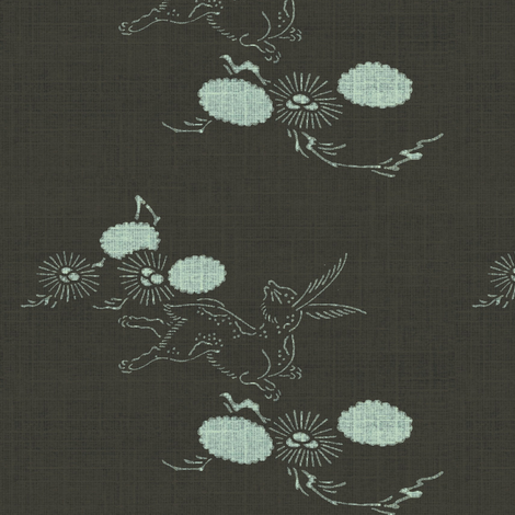 woodland hare - espresso/white fabric by materialsgirl on Spoonflower - custom fabric