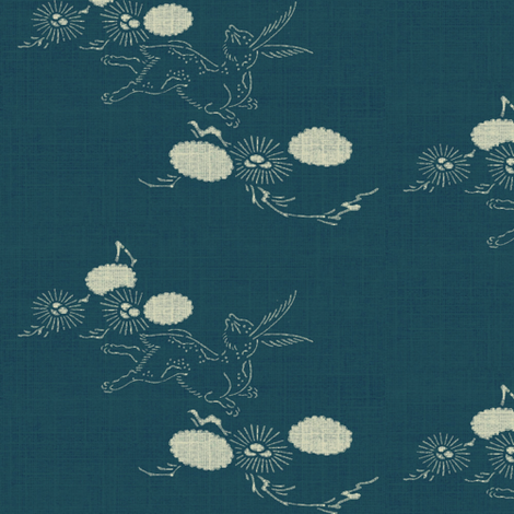 woodland hare - dark teal & white fabric by materialsgirl on Spoonflower - custom fabric