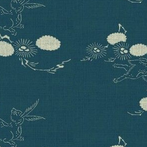 woodland hare - dark teal & white