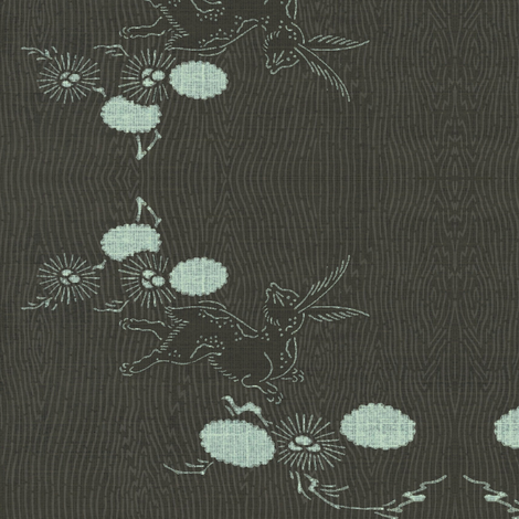 Woodland Hare - espresso and pale blue fabric by materialsgirl on Spoonflower - custom fabric