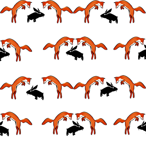 Foxes on Rabbits fabric by ravynscache on Spoonflower - custom fabric
