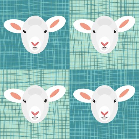 Aqua Lamb fabric by smuk on Spoonflower - custom fabric