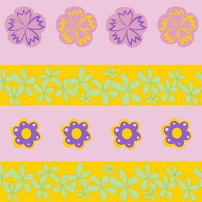 flowers border and sew-on patches